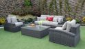 HIGH END OUTDOOR POLY RATTAN SOFA WITH CURVED ARMS RASF-098