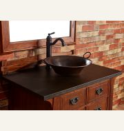 Leather Sink Countertop in Antique Black Walrus