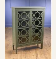 70380-GR Grey Cabinet with Two Glass Doors