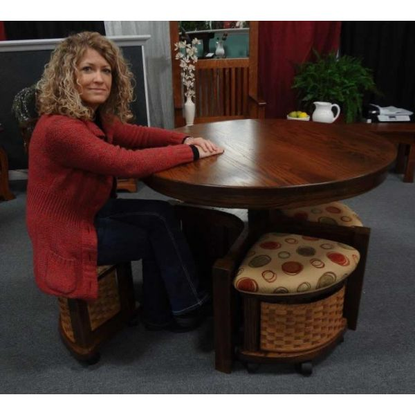 Amish Mission Round Coffee Table And Stool Set With Hydraulic Lift Loading Zoom